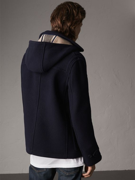 Wool Duffle Jacket with Detachable Hood in Navy - Men | Burberry - cell image 2