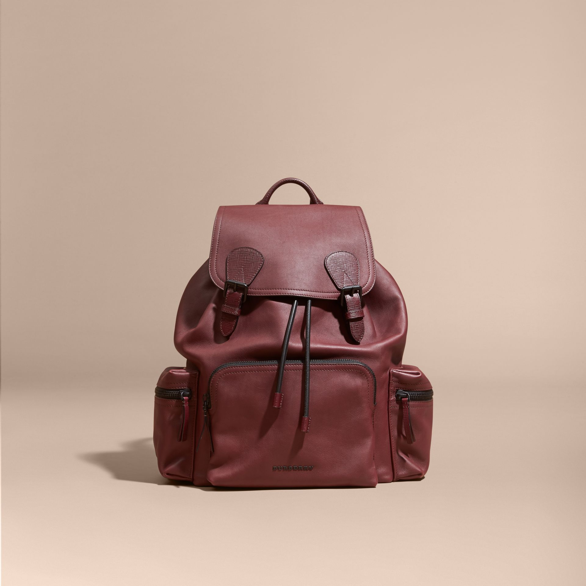 The Large Rucksack in Water-repellent Leather in Burgundy Red - gallery image 2