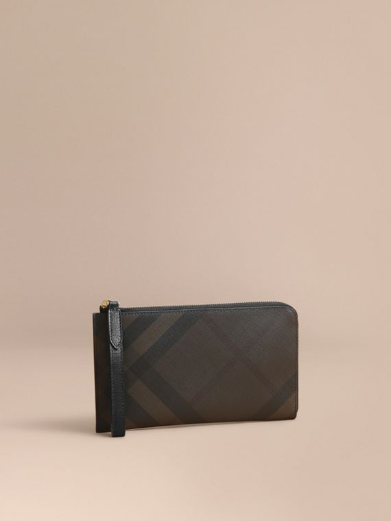 London Check Travel Wallet Chocolate/black