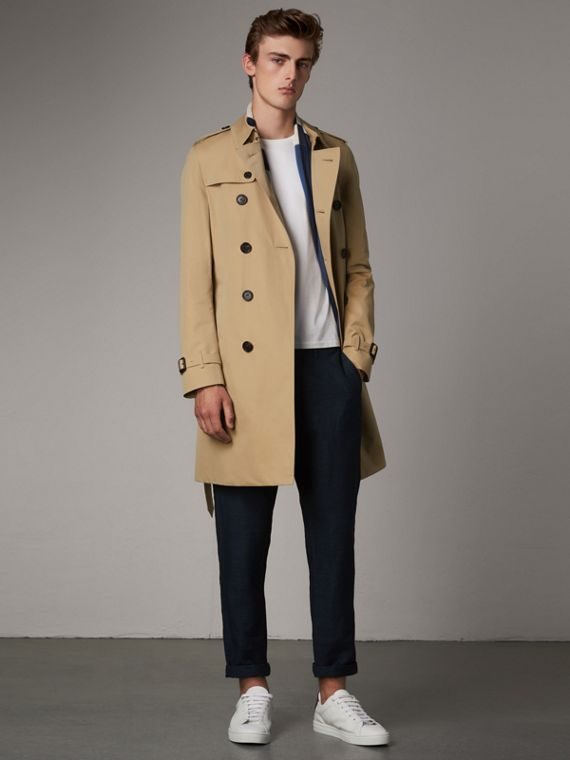 The Chelsea – Langer Trenchcoat (Honiggelb)