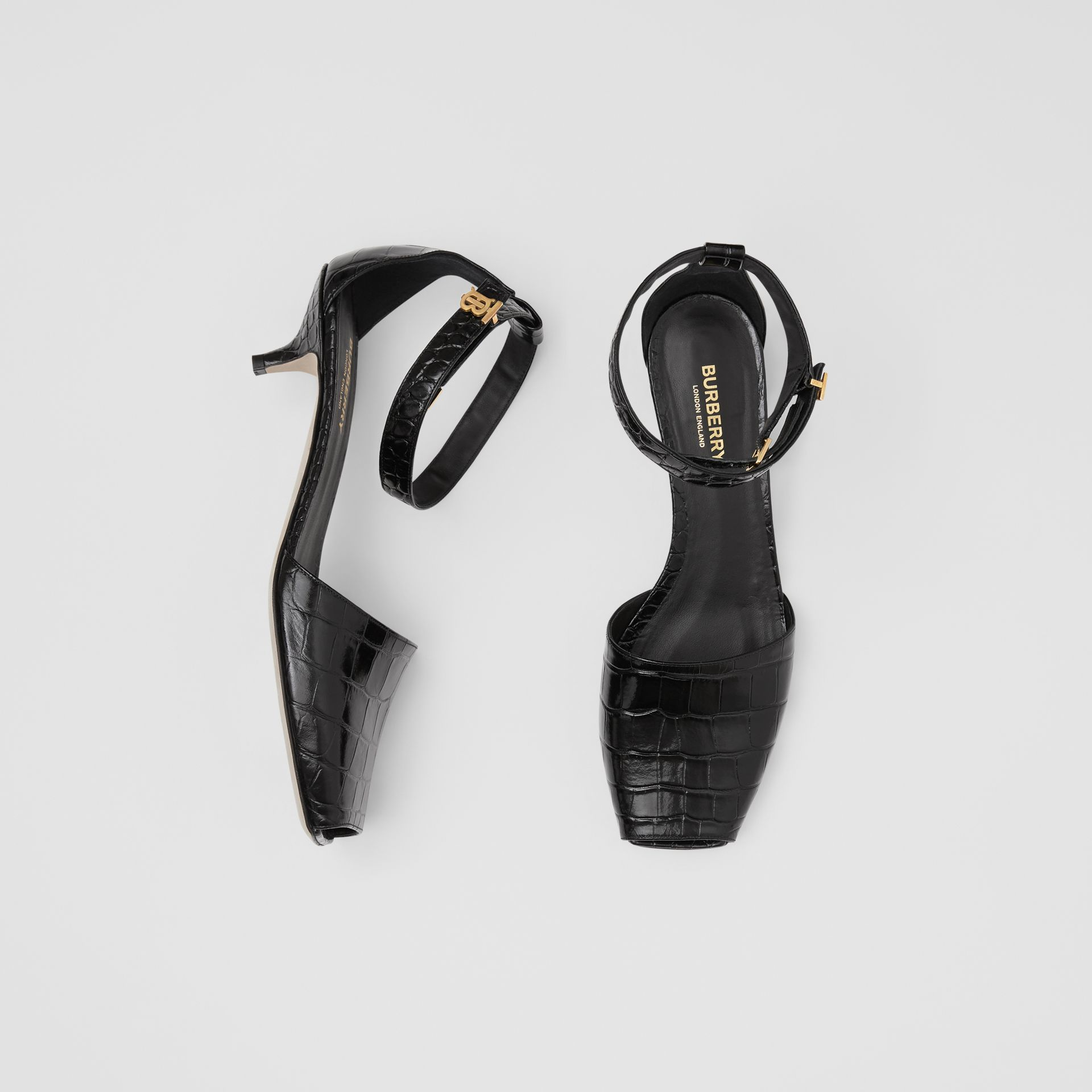 Monogram Motif Embossed Leather Sandals in Black - Women | Burberry United Kingdom - gallery image 0