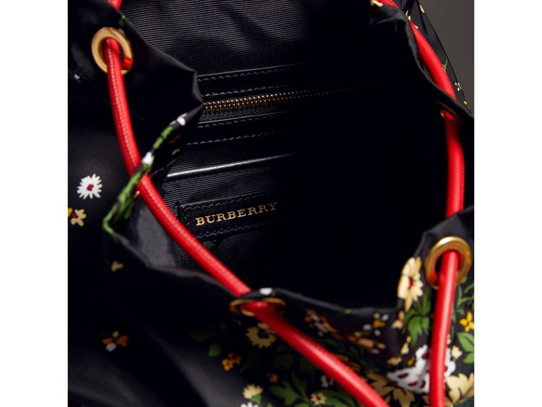 The Medium Rucksack in Floral Print in Black - Women | Burberry - cell image 4