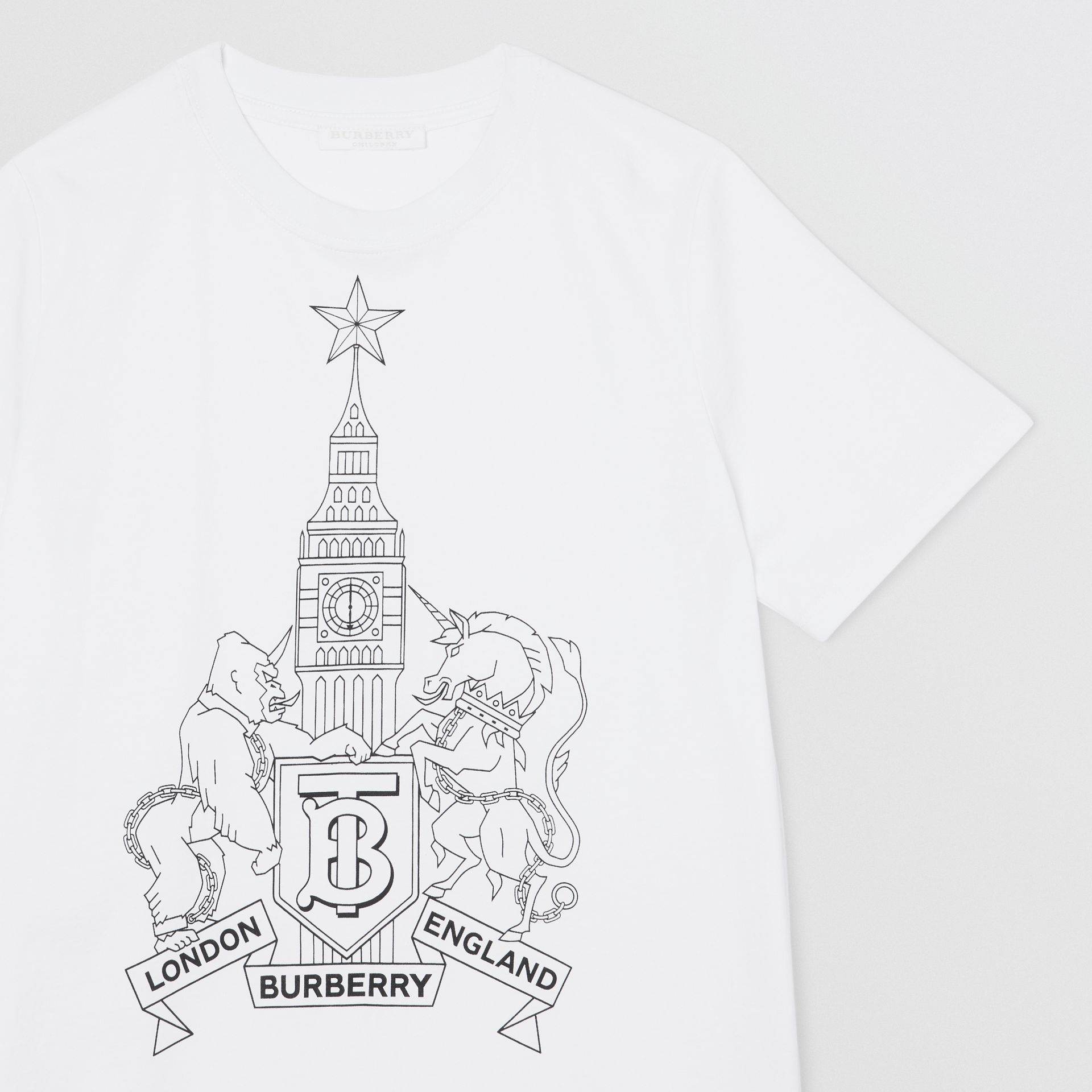 Montage Logo Print Cotton T-shirt in White | Burberry - gallery image 4