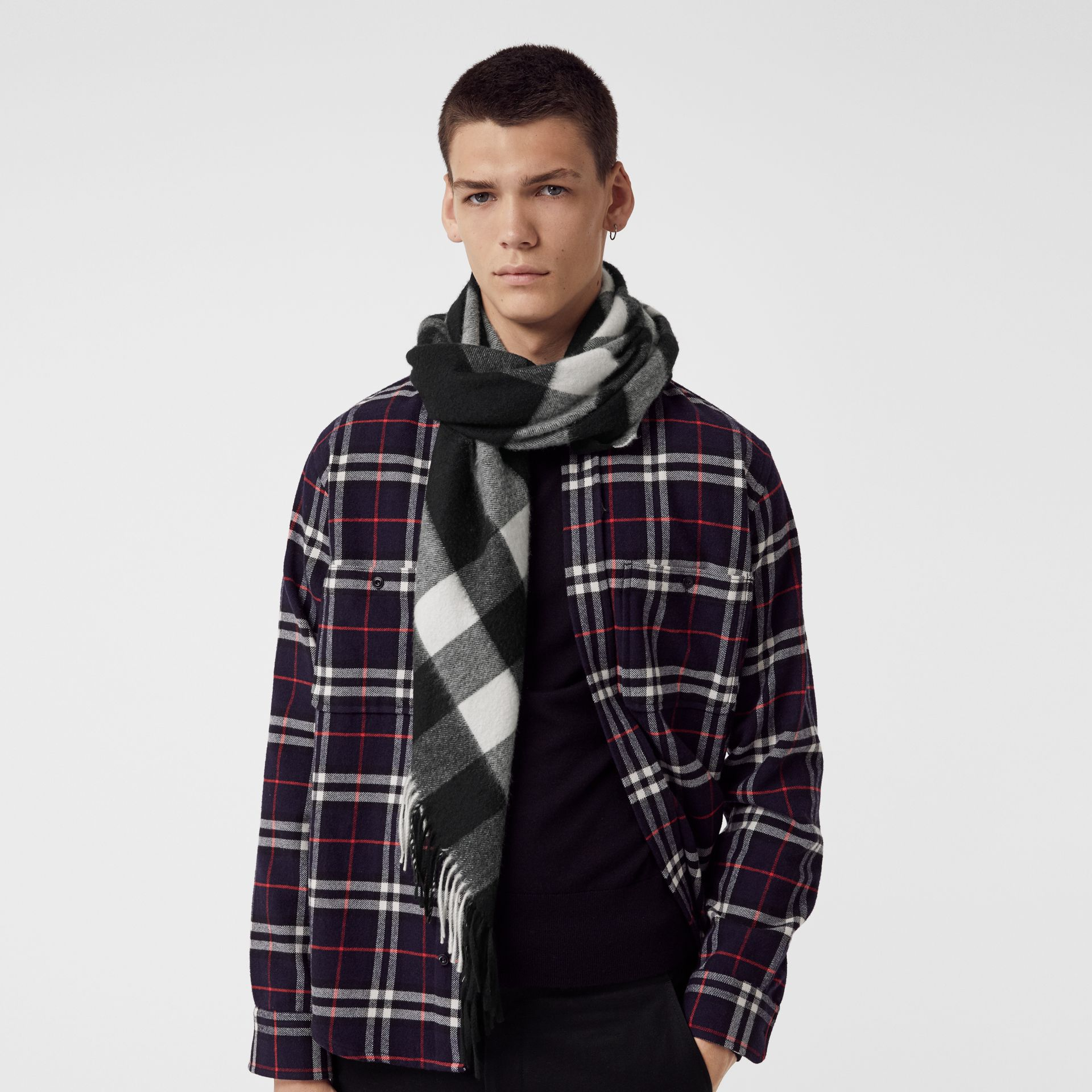 The Burberry Bandana in Check Cashmere in Black | Burberry United States - gallery image 6