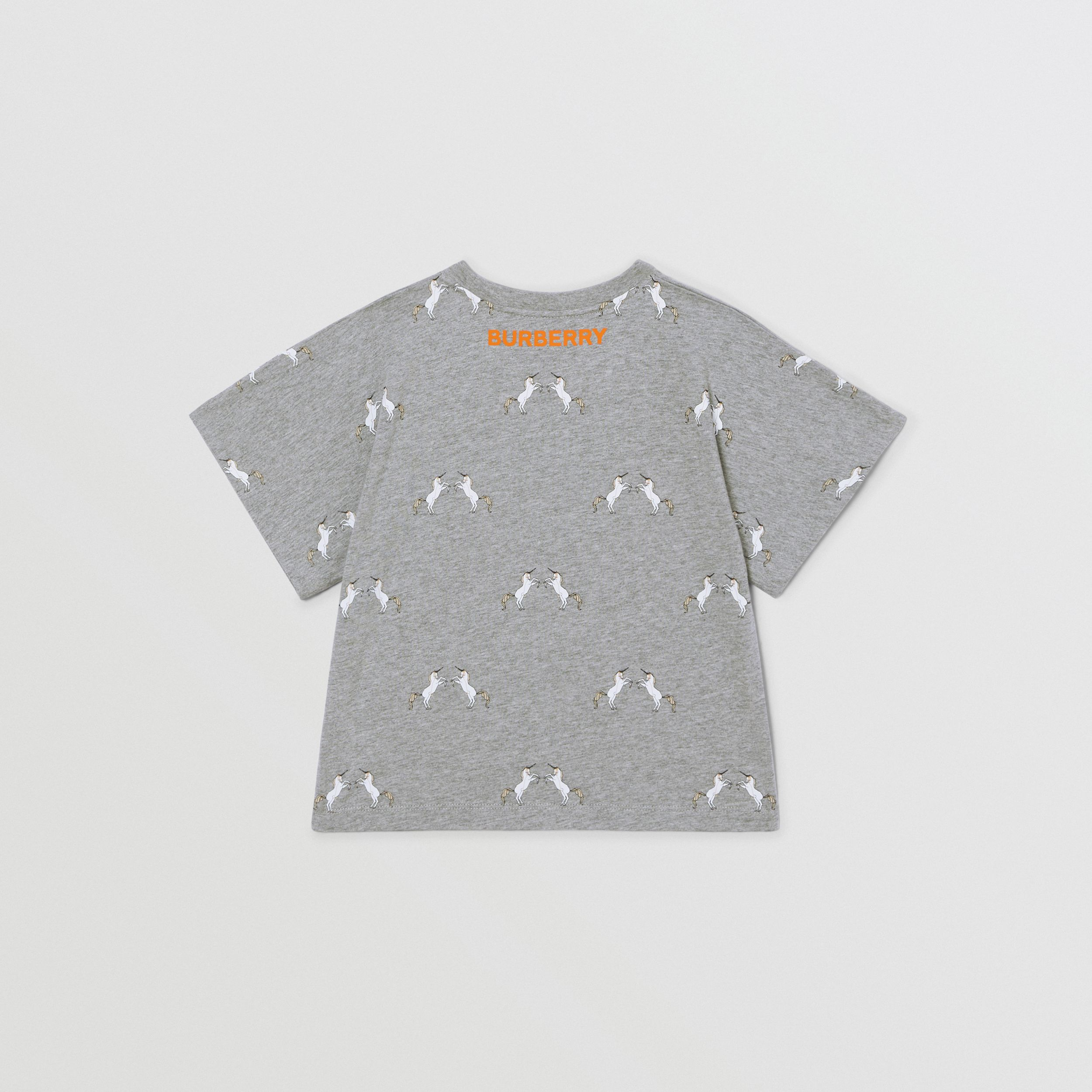 Unicorn Slogan Print Cotton T-shirt in Grey Melange | Burberry - 4