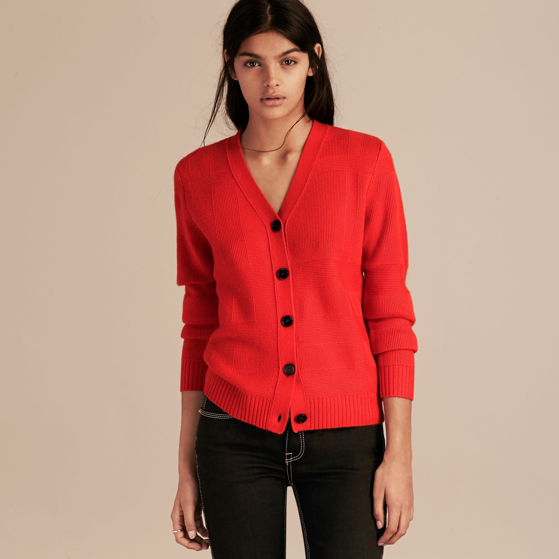 Check-knit Wool Cashmere Cardigan in Bright Military Red - gallery image 6