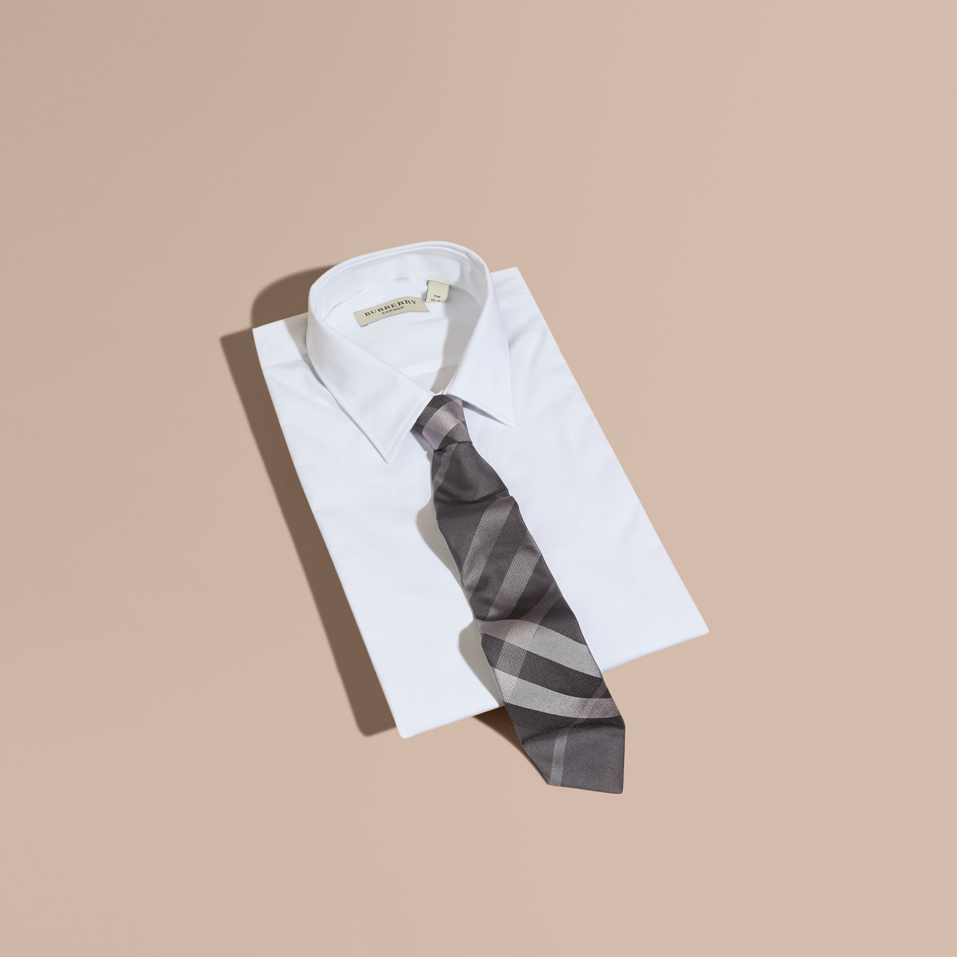 Modern Cut Beat Check Silk Tie - Men | Burberry - gallery image 4