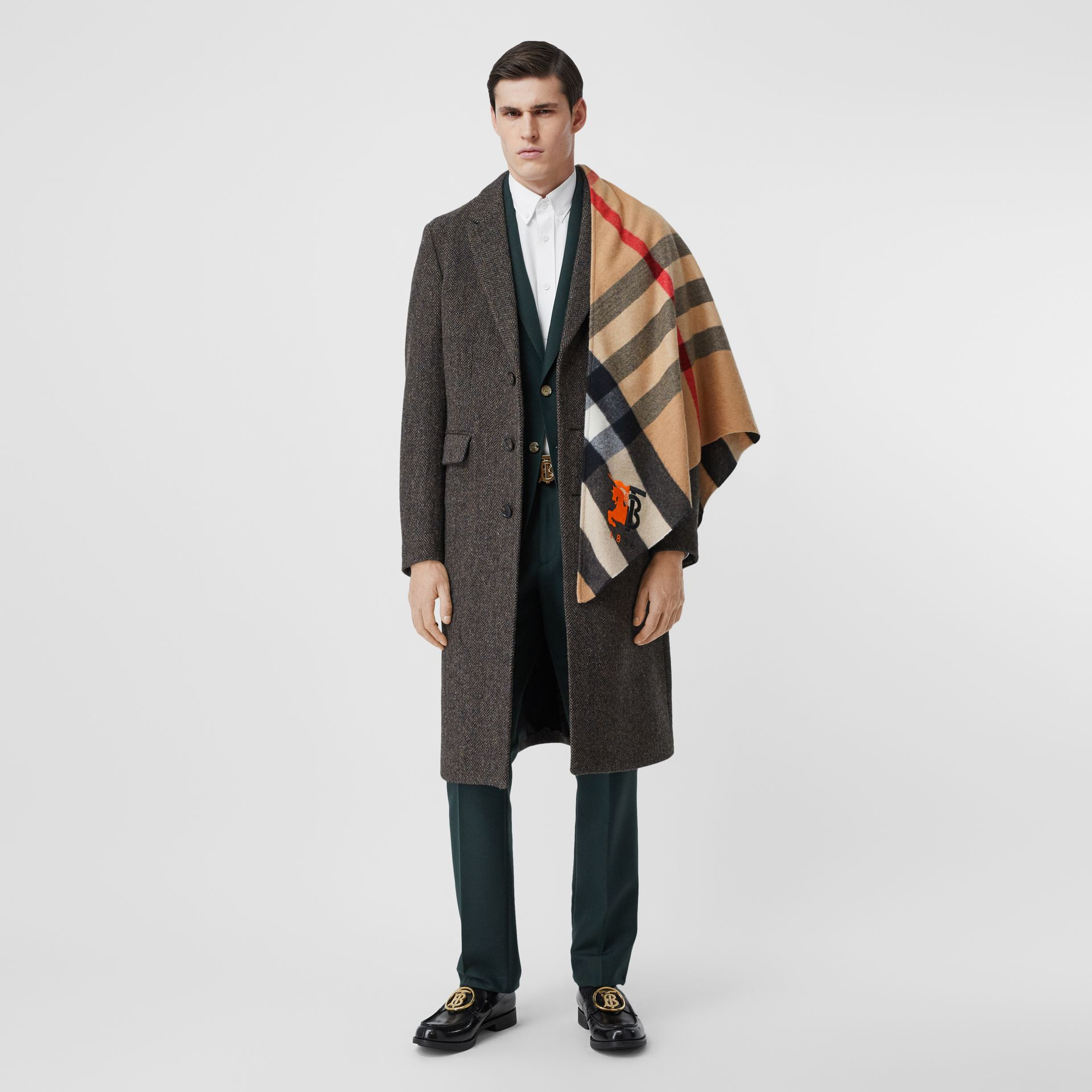 Contrast Logo Graphic Check Cashmere Bandana in Camel | Burberry - gallery image 7