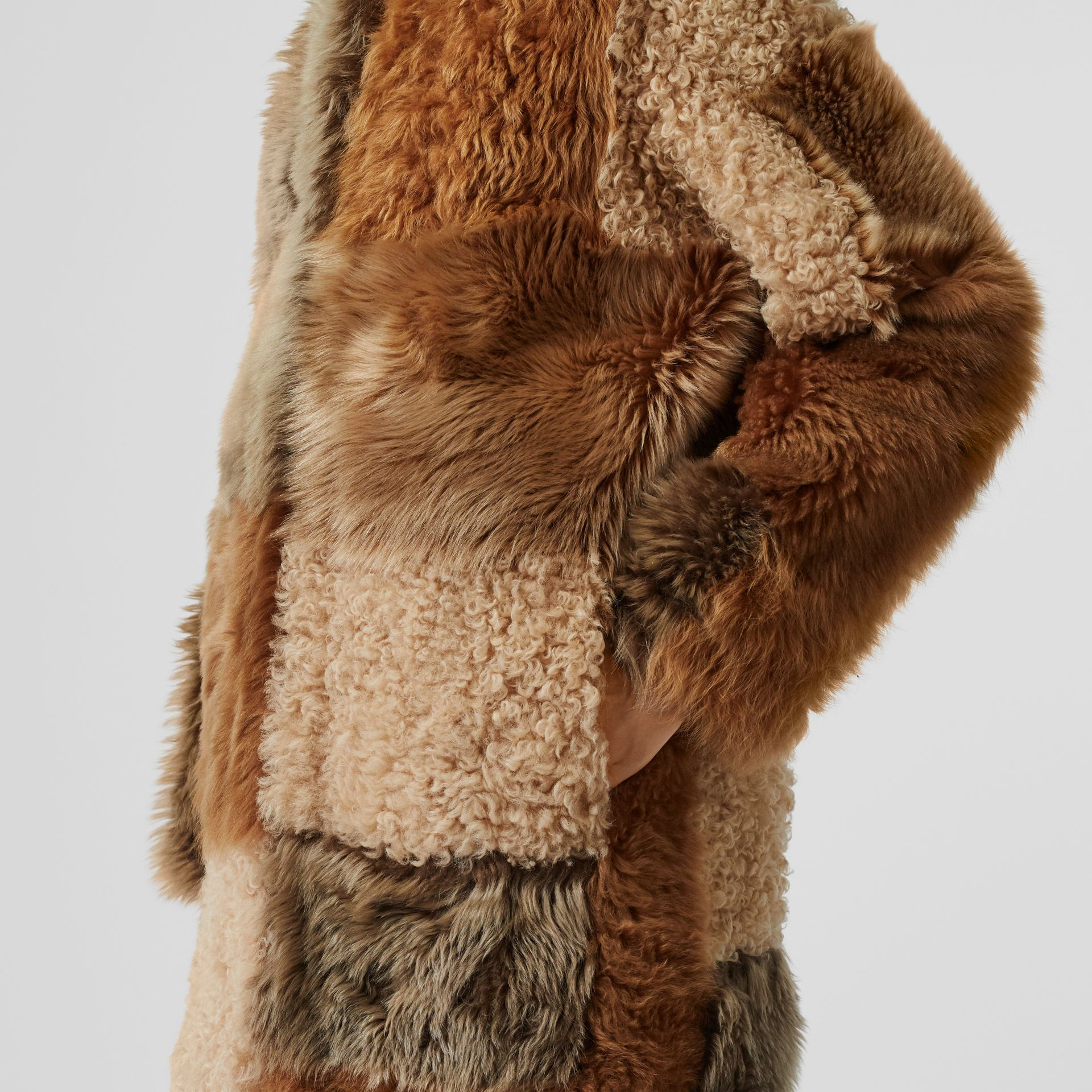 Patchwork Shearling Coat in Toffee - Women | Burberry - gallery image 5