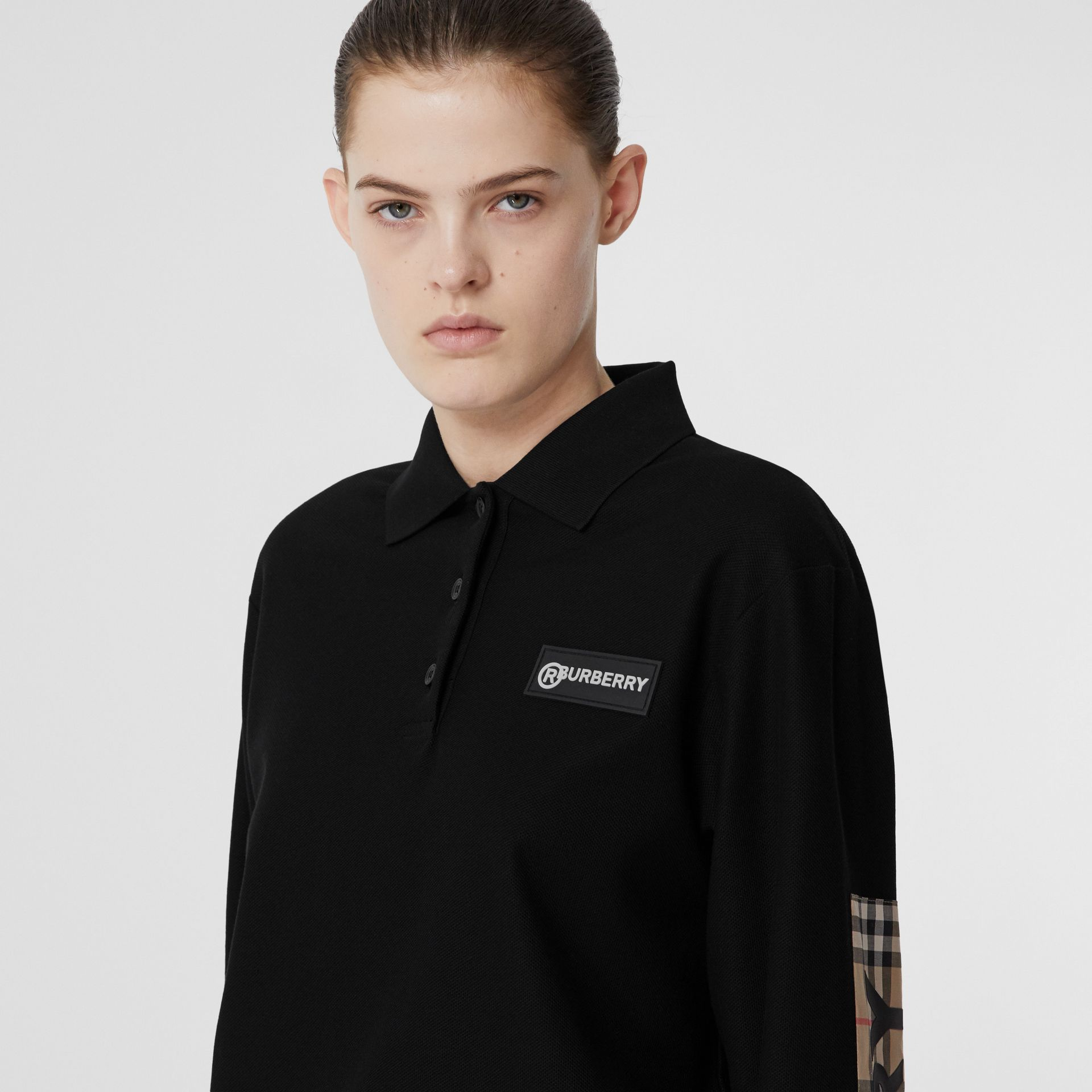Long-sleeve Vintage Check Panel Oversized Polo Shirt in Black - Women | Burberry United Kingdom - gallery image 4