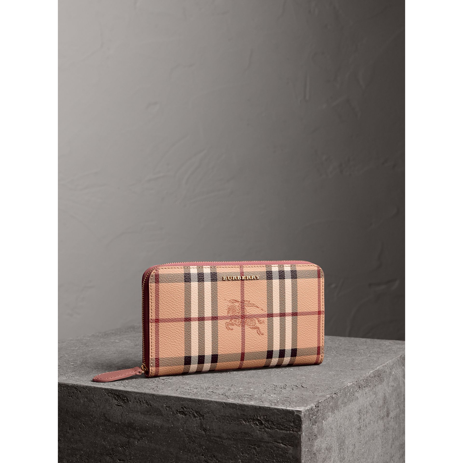 Haymarket Check and Leather Ziparound Wallet in Light Elderberry - Women | Burberry - gallery image 0