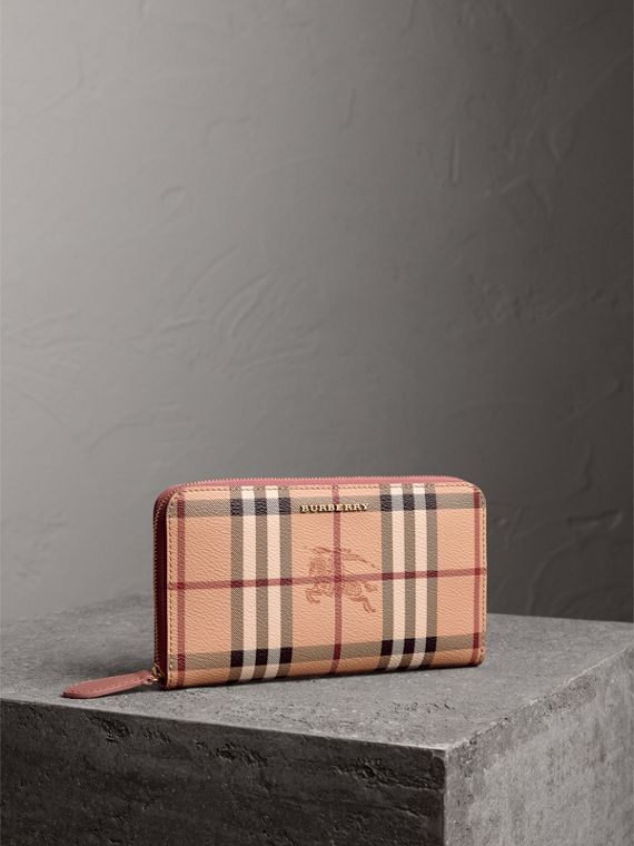 Haymarket Check and Leather Ziparound Wallet in Light Elderberry