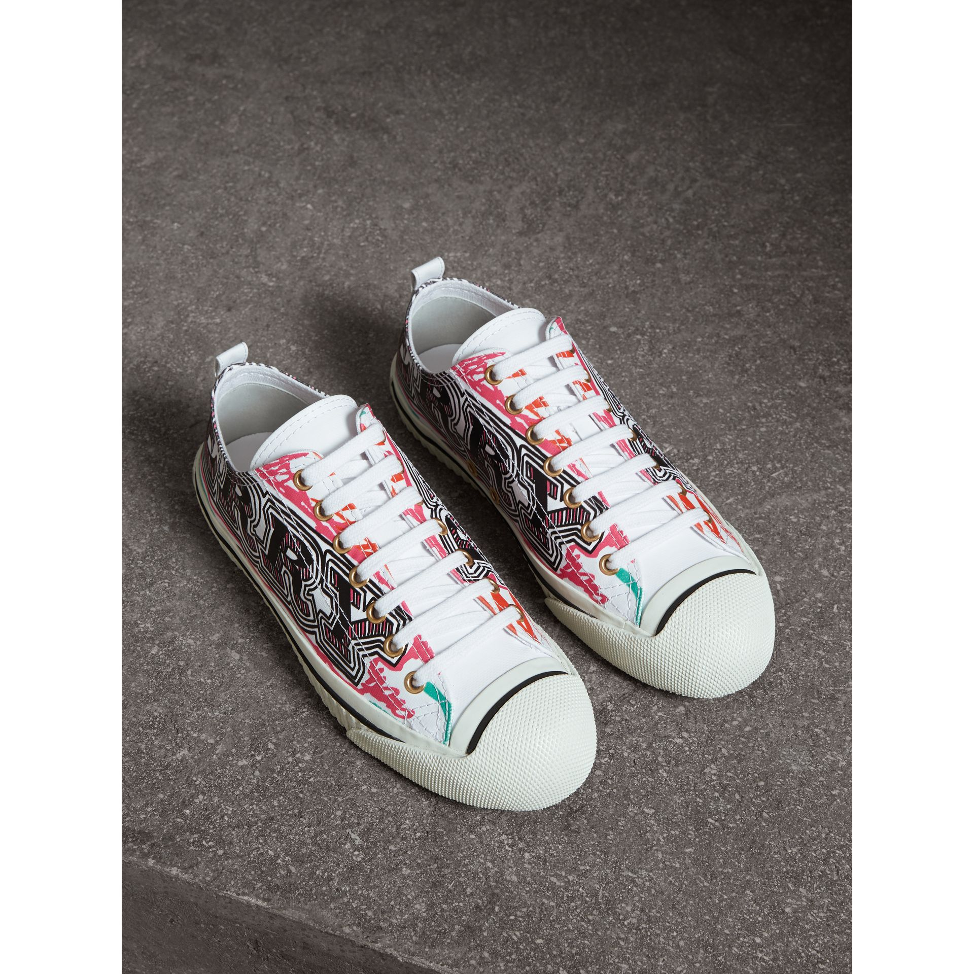 Doodle Print Coated Cotton Trainers in Optic White - Women | Burberry United Kingdom - gallery image 0