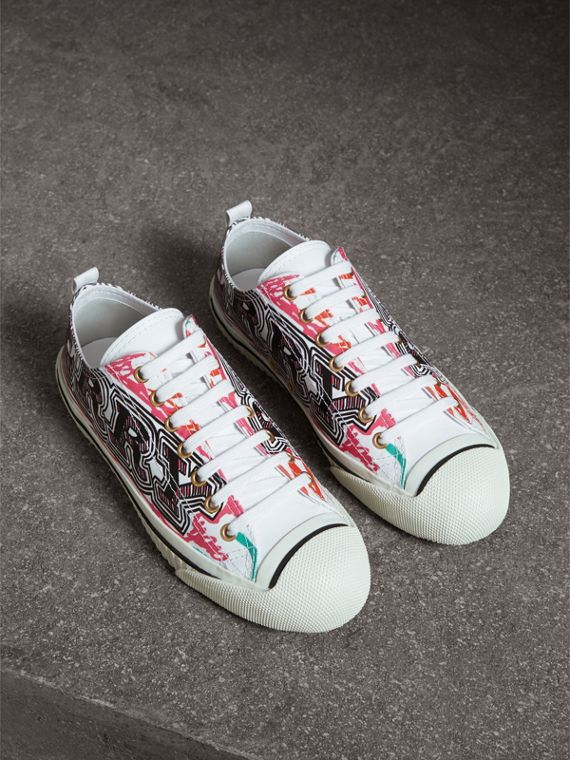 Doodle Print Coated Cotton Sneakers in Optic White