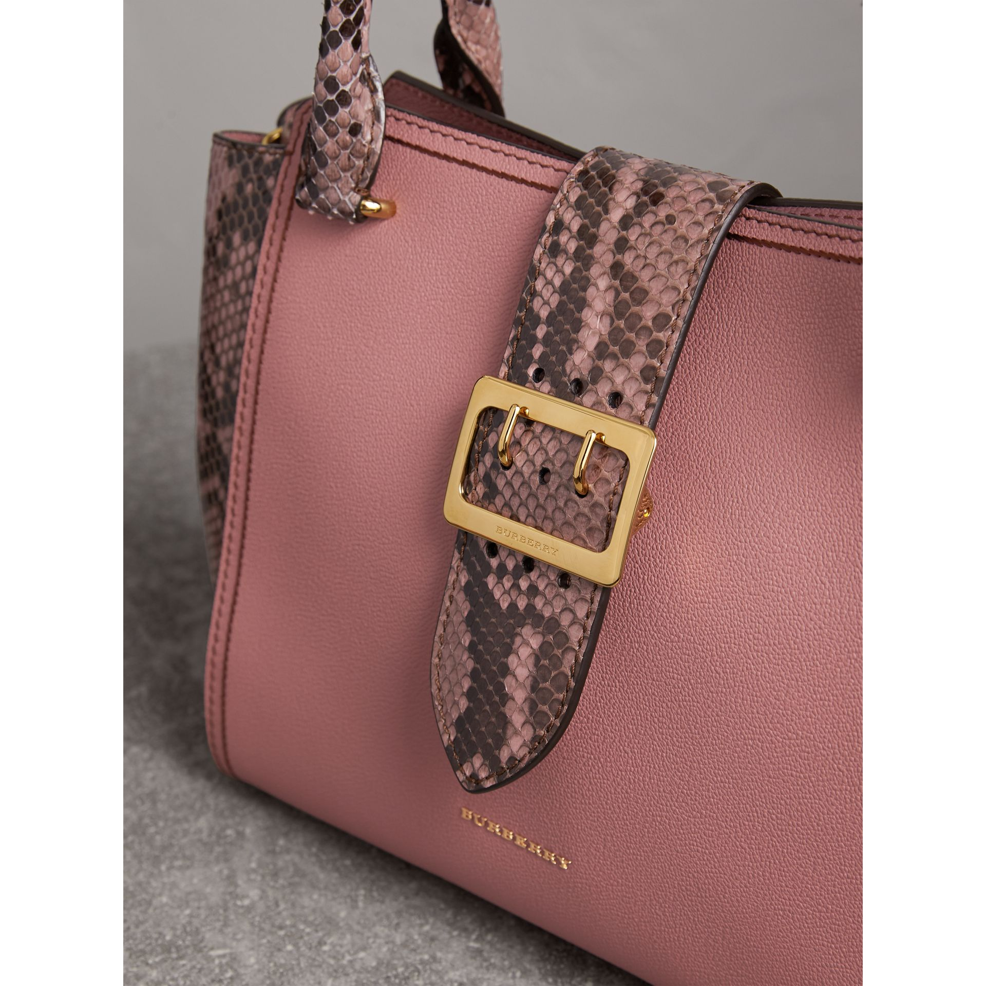 The Medium Buckle Tote in Grainy Leather and Python in Dusty Pink - Women | Burberry - gallery image 2