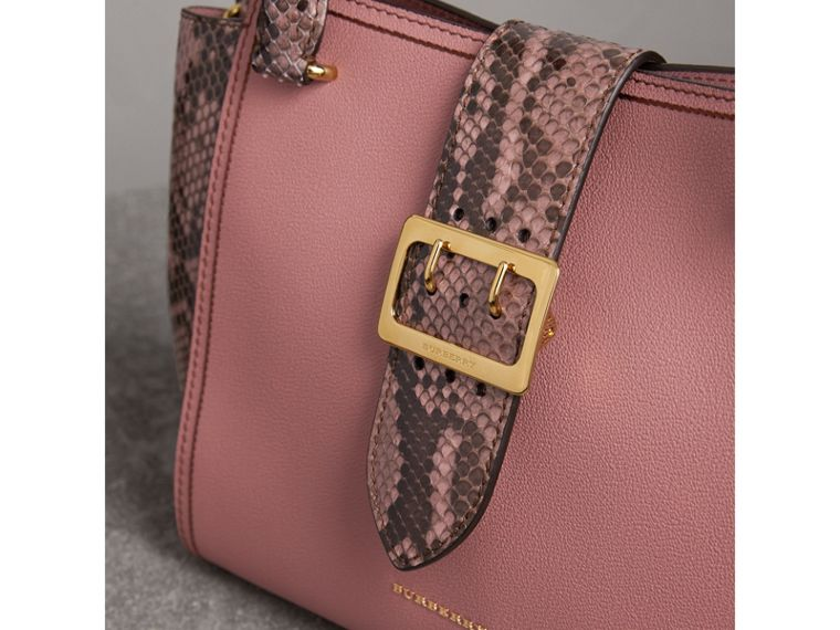 The Medium Buckle Tote in Grainy Leather and Python in Dusty Pink - Women | Burberry - cell image 1