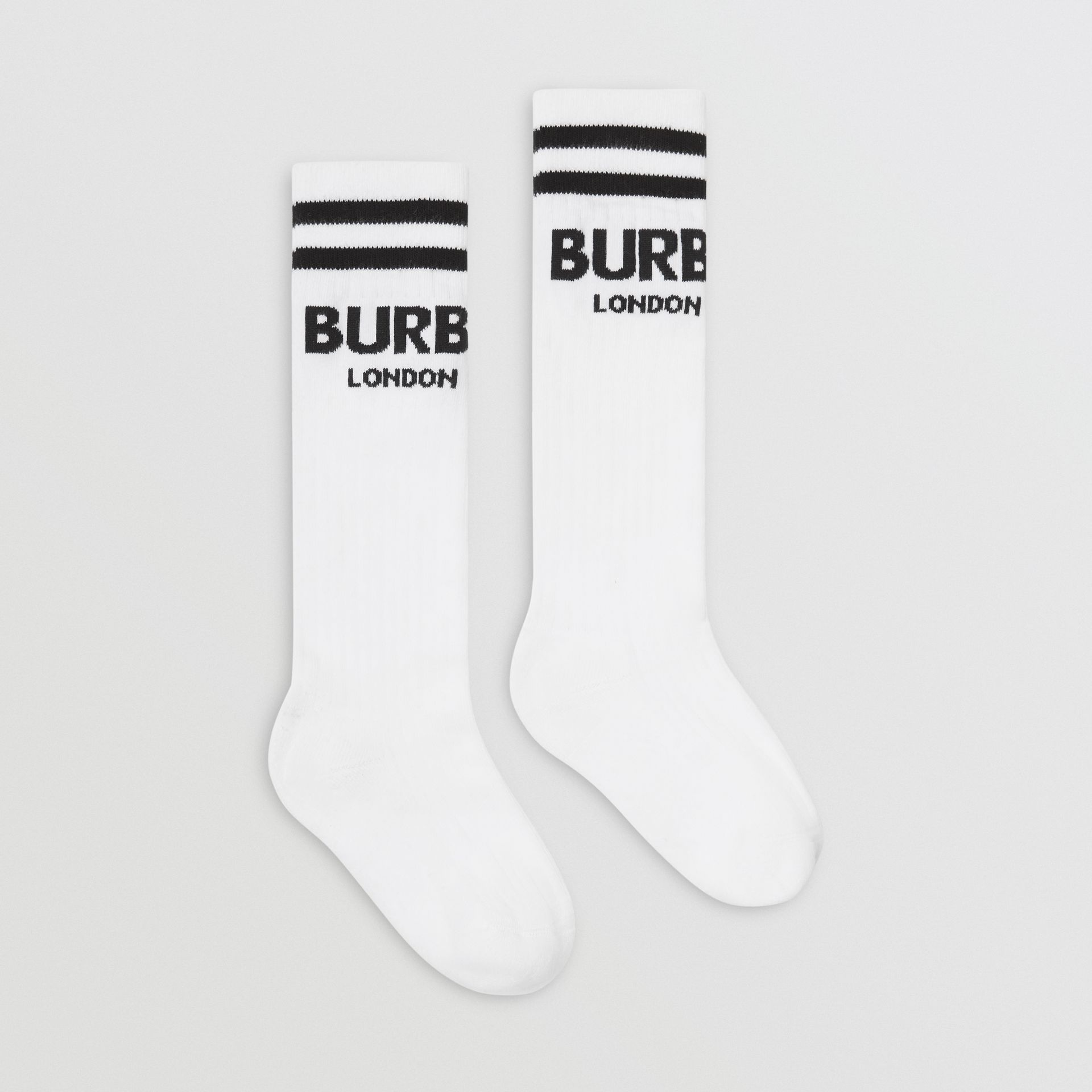 Logo Cotton Blend Socks in White/black - Children | Burberry - gallery image 3