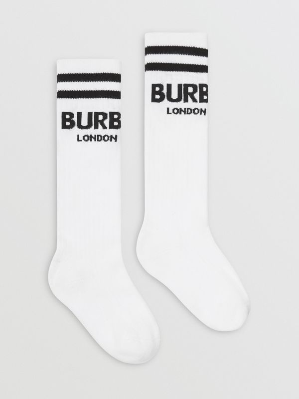 Logo Cotton Blend Socks in White/black - Children | Burberry Australia - cell image 3
