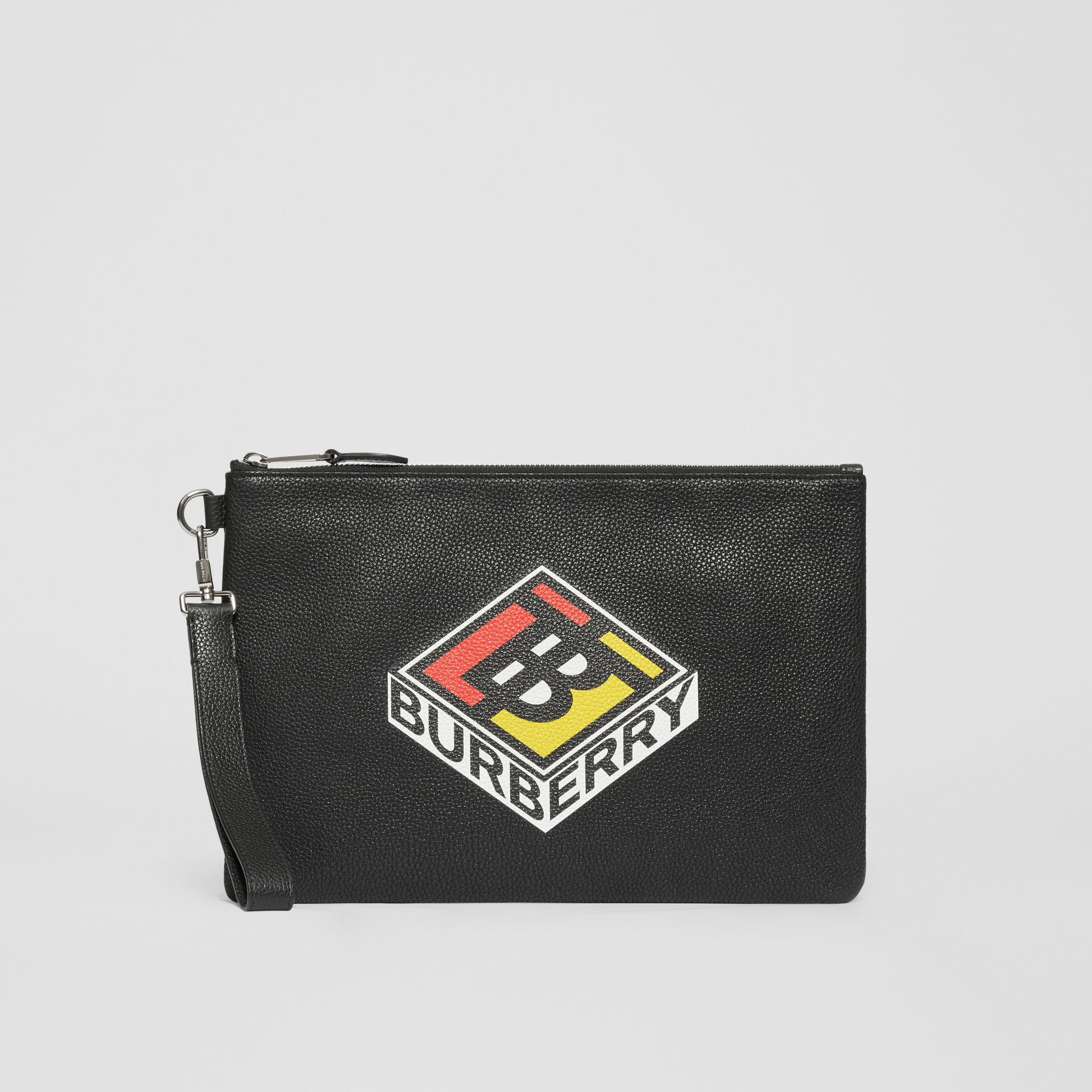 Logo Graphic Grainy Leather Zip Pouch in Black - Men   Burberry United Kingdom - gallery image 3