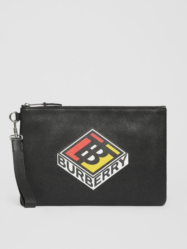 Logo Graphic Grainy Leather Zip Pouch in Black - Men   Burberry United Kingdom - cell image 3