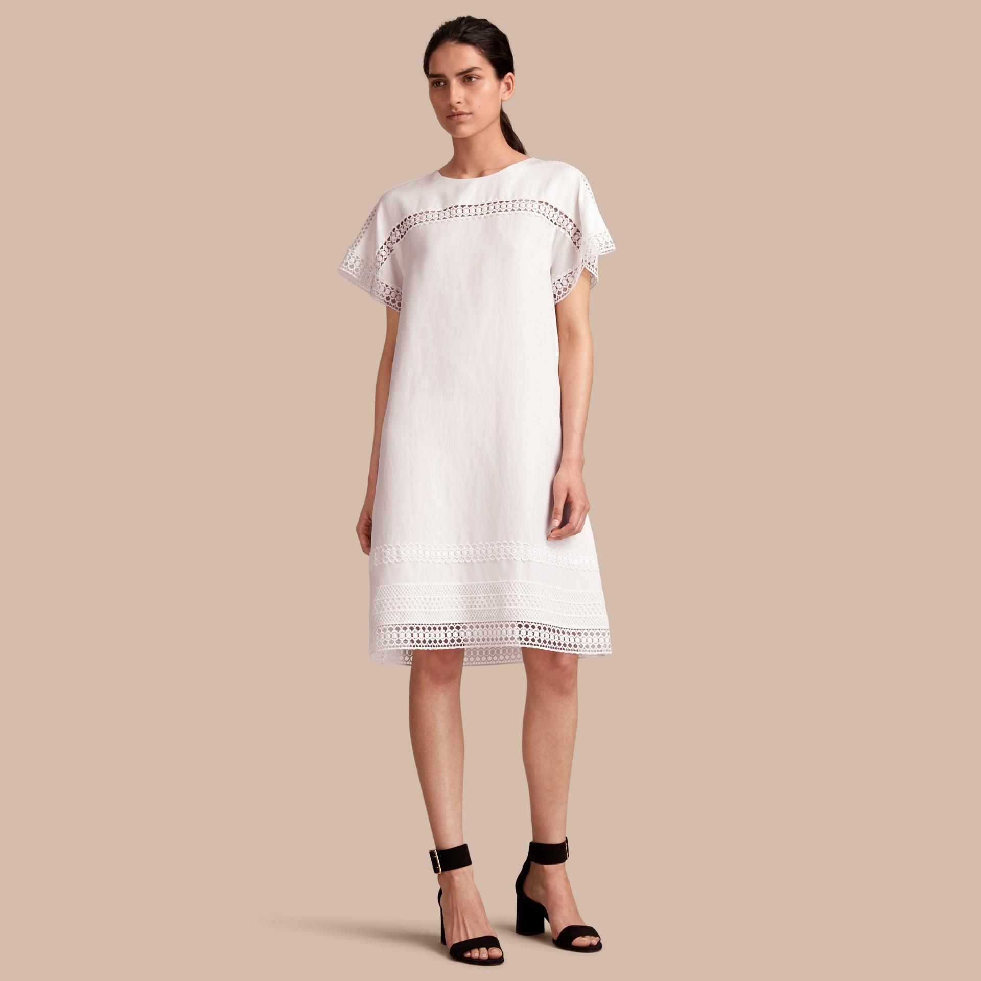 Macramé Lace Detail Silk Linen Cotton Dress - gallery image 1