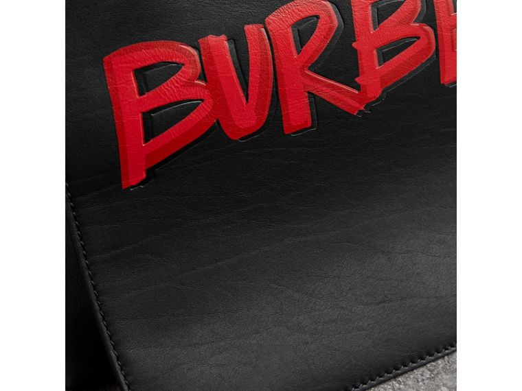 Large Graffiti Print Leather Messenger Bag in Black - Men | Burberry - cell image 1