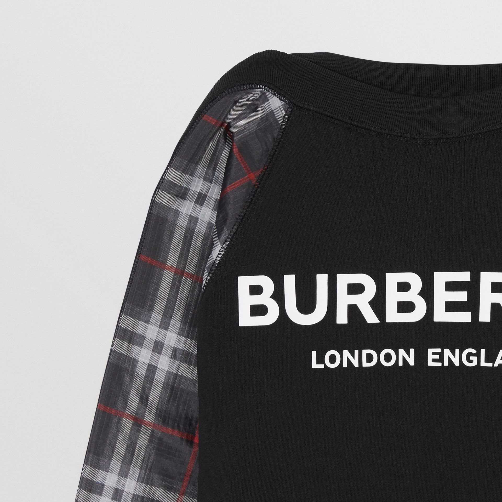 Vintage Check Detail Logo Print Cotton Sweatshirt in Black | Burberry - gallery image 4