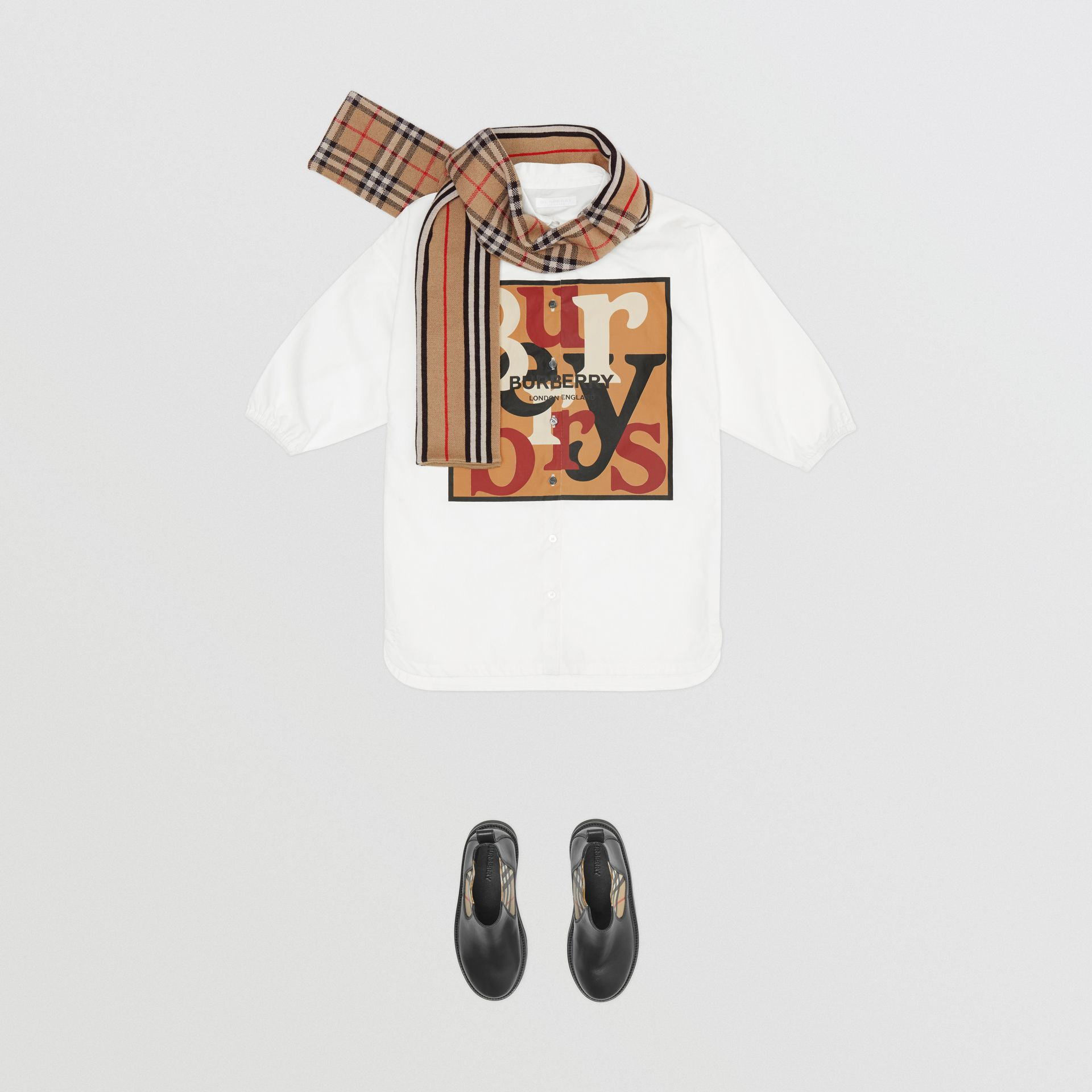 Logo and Archive Scarf Print Cotton Shirt Dress in White | Burberry - gallery image 2