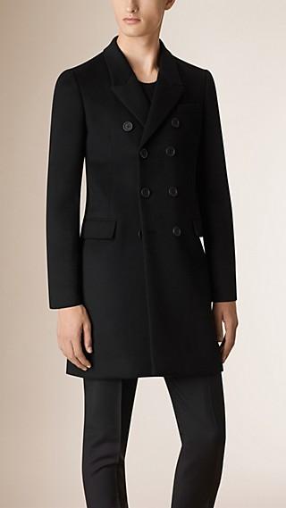 Manteau à double boutonnage sans doublure en cachemire et laine