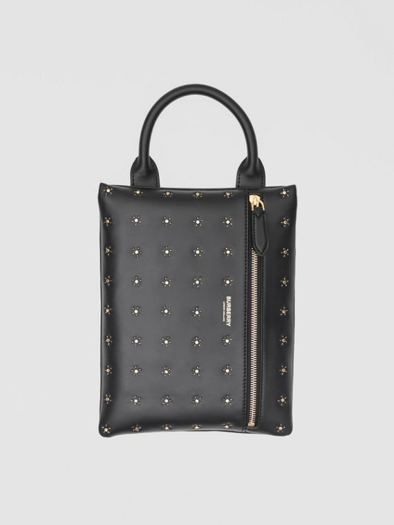 Bolsa pouch Portrait de couro com tachas (Preto)