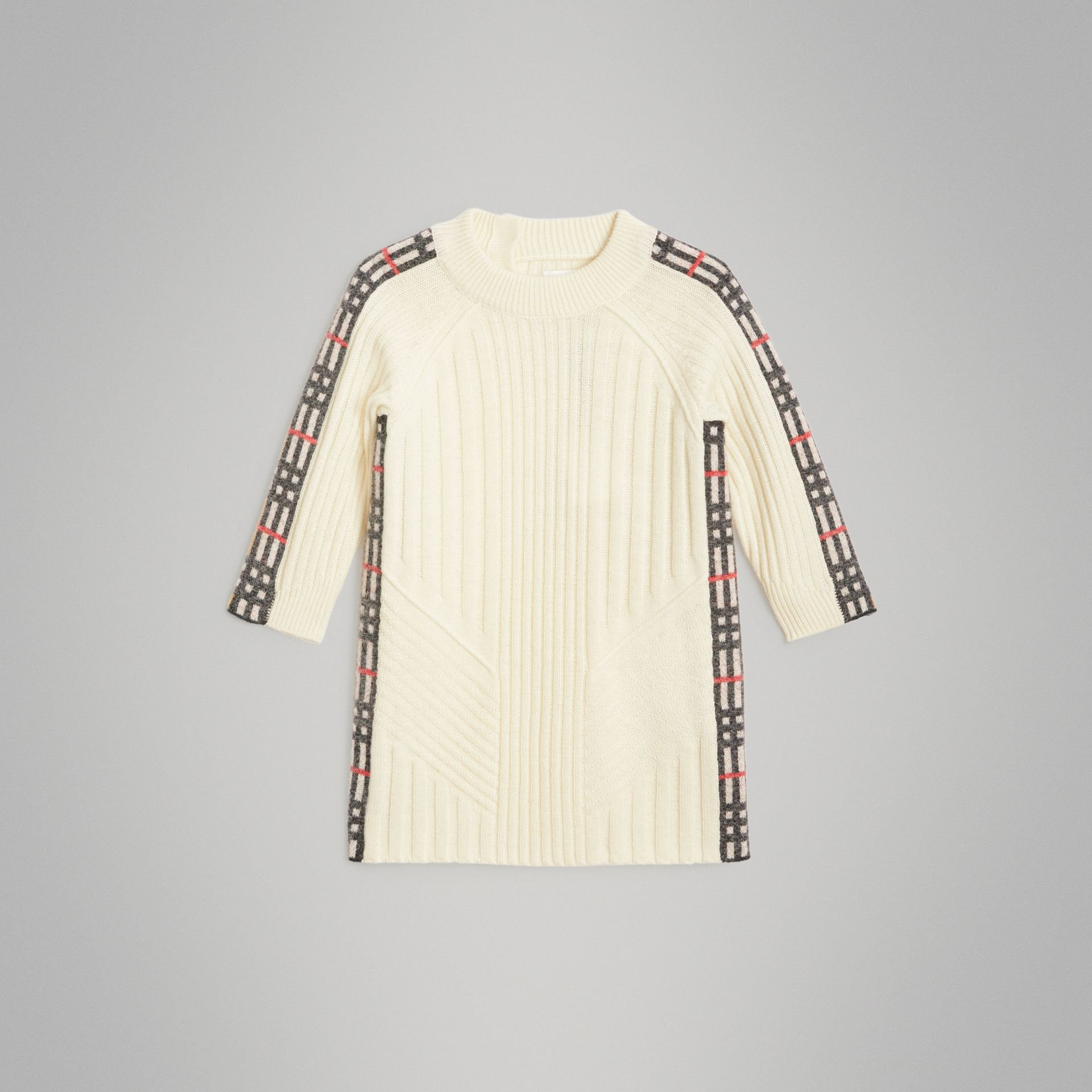 Check Detail Wool Cashmere Dress in Ivory - Children | Burberry United Kingdom - gallery image 0