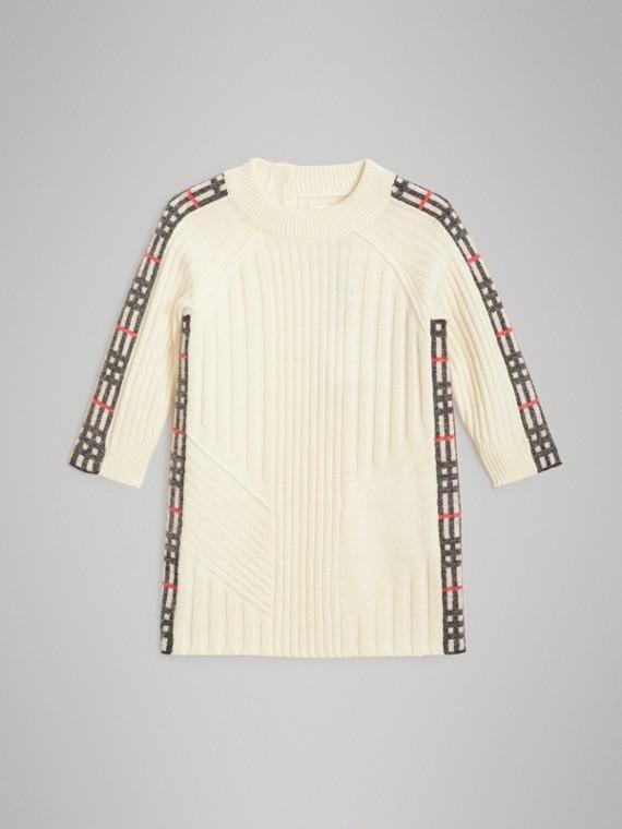 Kleid aus Wolle und Kaschmir mit Karodetail (Elfenbeinfarben)