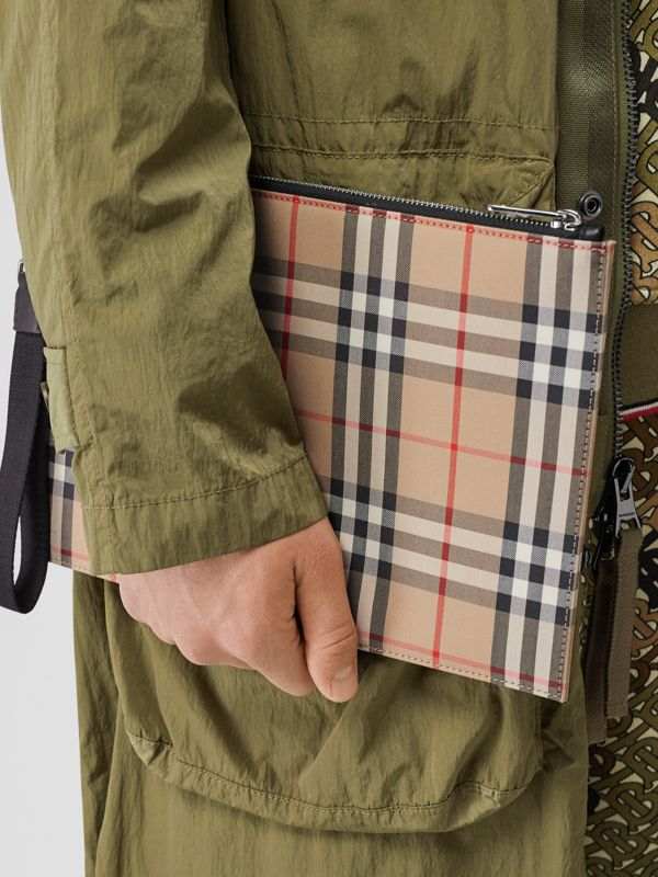 Vintage Check Cotton Zip Pouch in Archive Beige | Burberry Australia - cell image 2