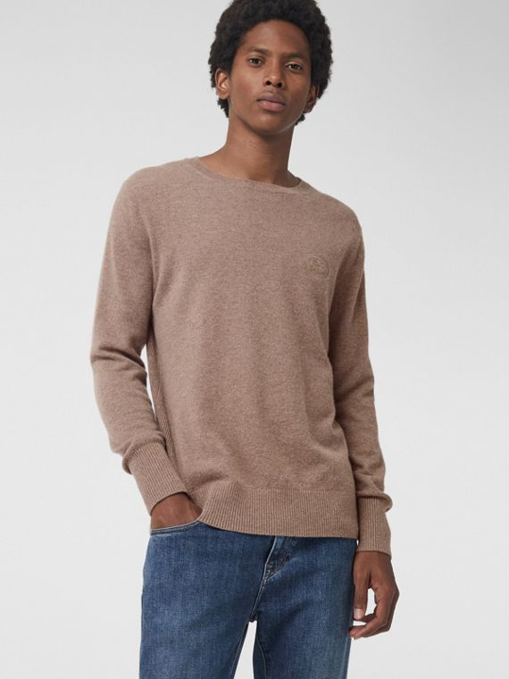 Embroidered Archive Logo Cashmere Sweater in Camel Melange