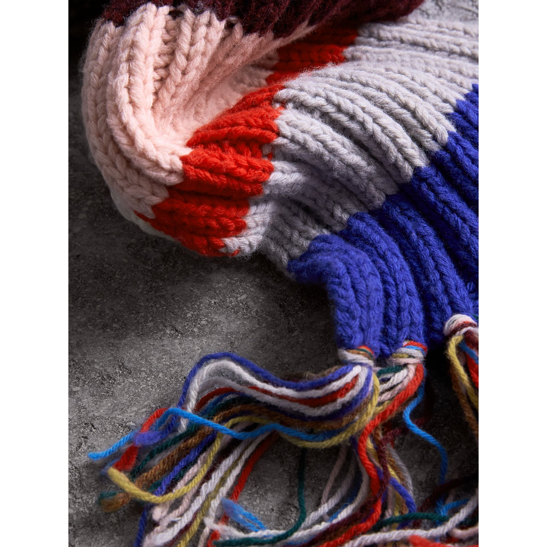 Long Striped Rib Knit Wool Scarf in Multicolour | Burberry - gallery image 2