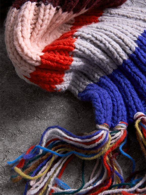 Long Striped Rib Knit Wool Scarf in Multicolour | Burberry United Kingdom - cell image 1