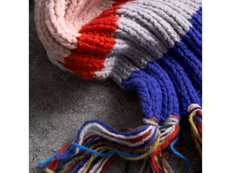 Long Striped Rib Knit Wool Scarf in Multicolour | Burberry - cell image 1