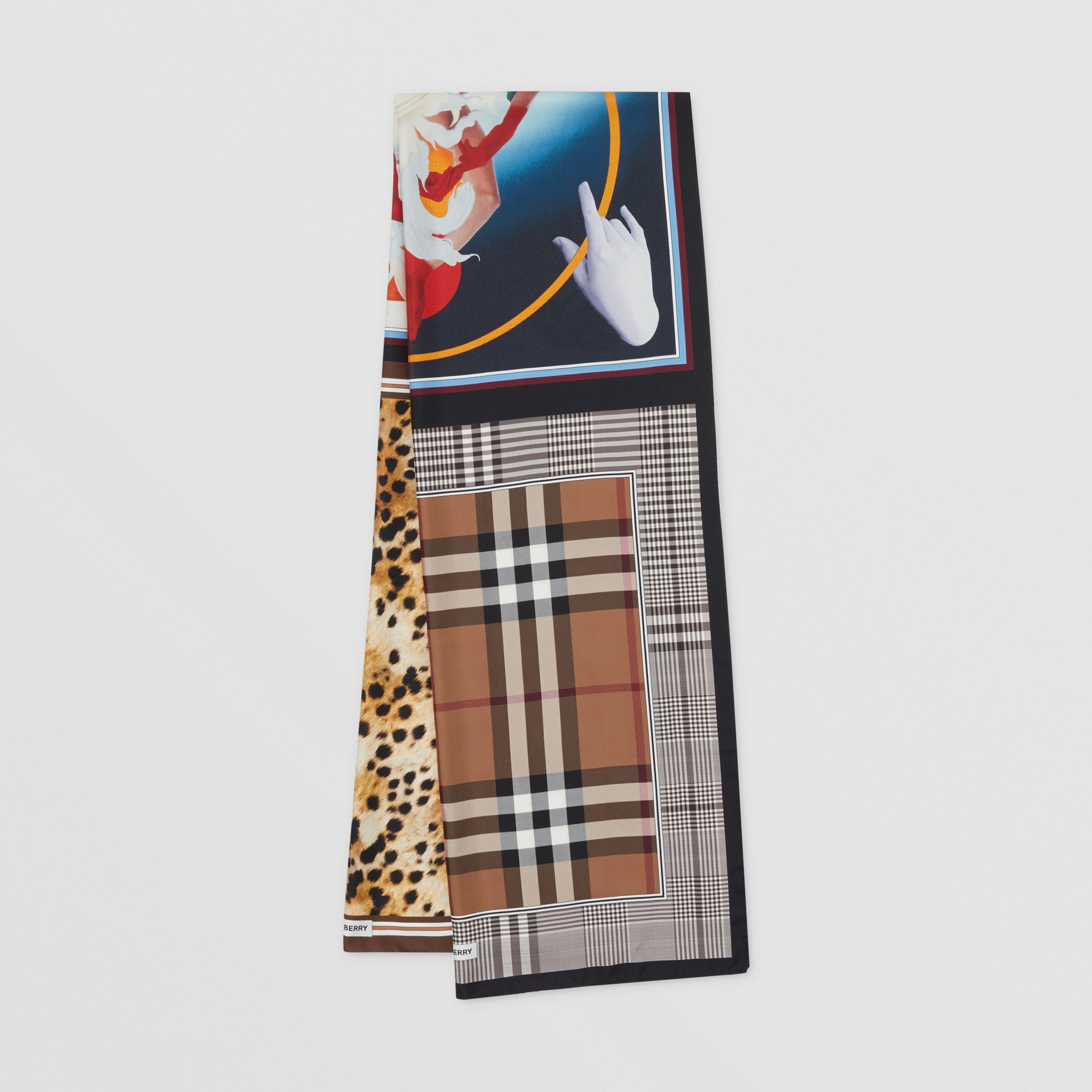 Montage Print Silk Scarf in Multicoloured | Burberry Australia - 1