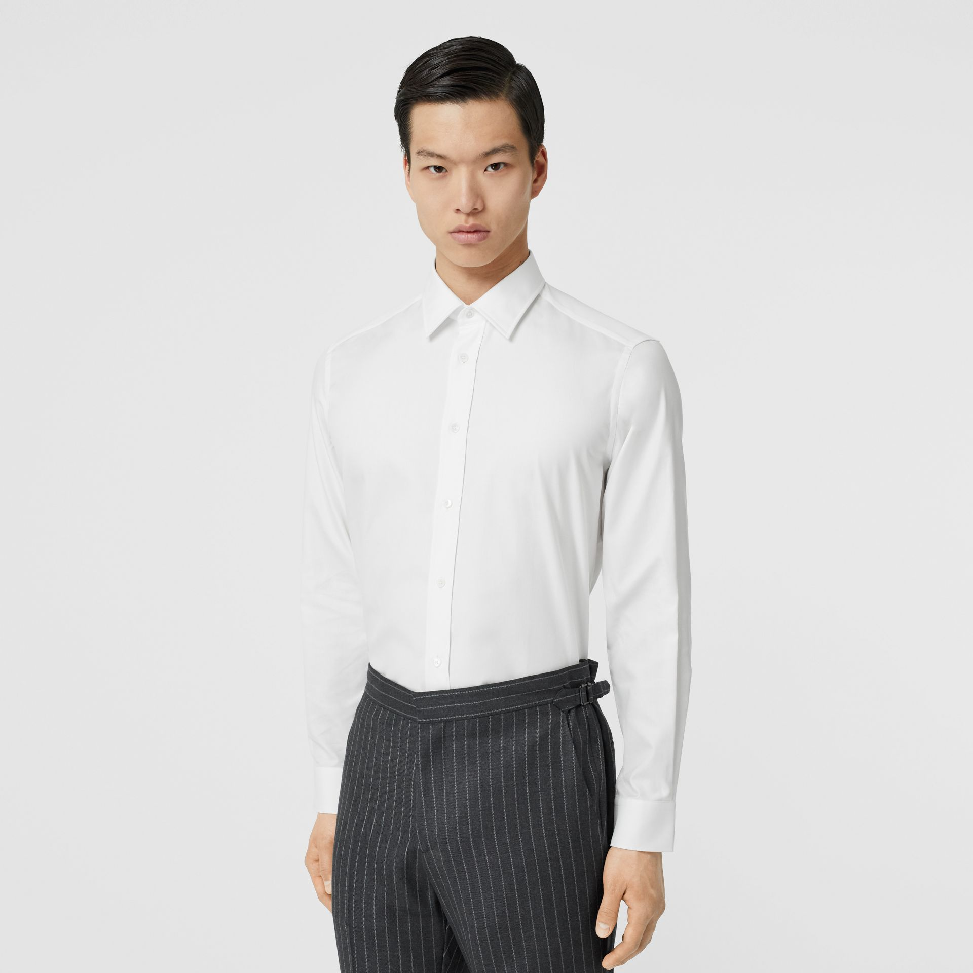 Classic Fit Monogram Motif Cotton Oxford Shirt in White - Men | Burberry United Kingdom - gallery image 0