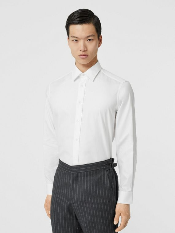 Classic Fit Monogram Motif Cotton Oxford Shirt in White