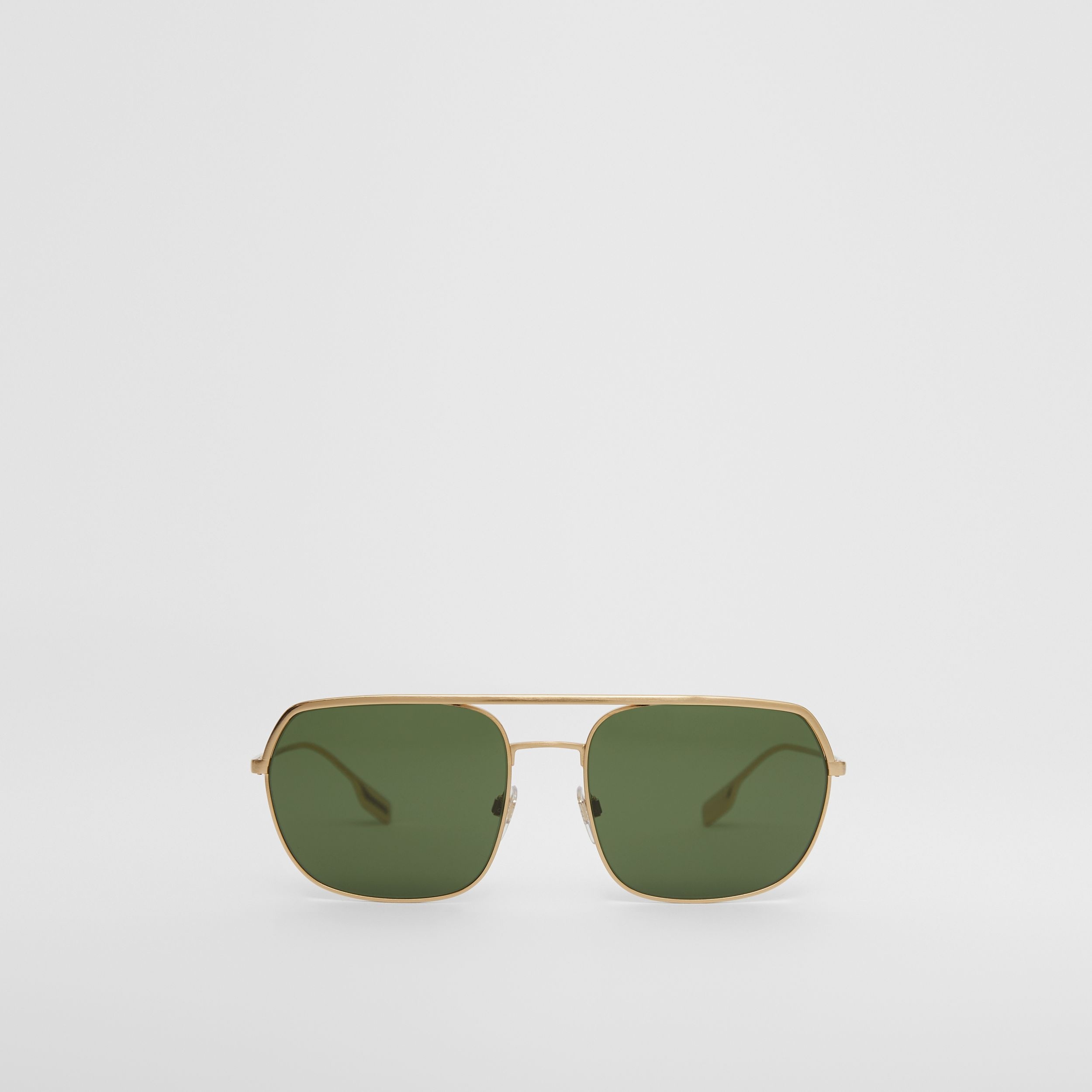 Square Pilot Sunglasses in Vintage Brushed Gold - Men | Burberry Australia - 1