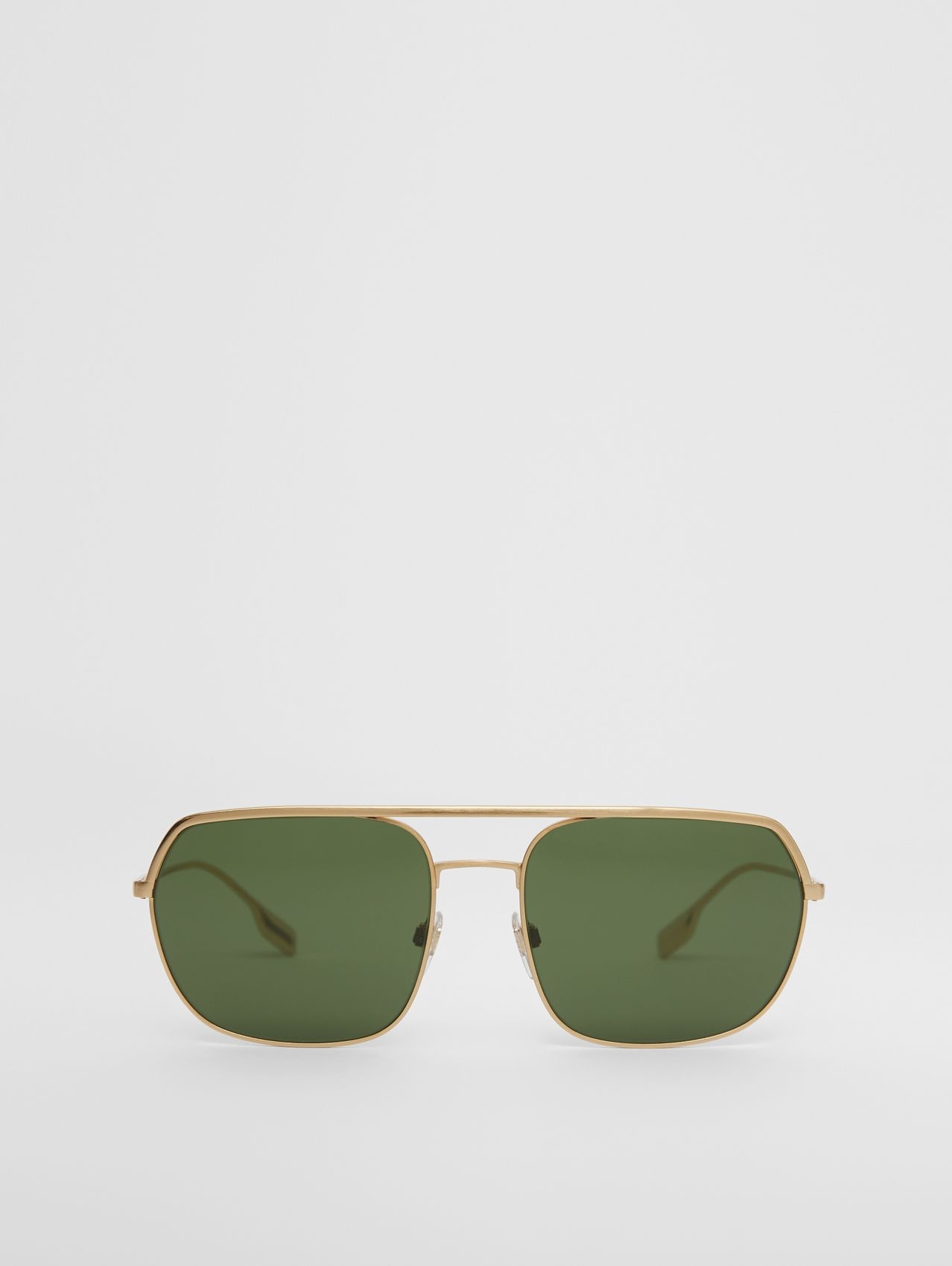Square Pilot Sunglasses in Vintage Brushed Gold
