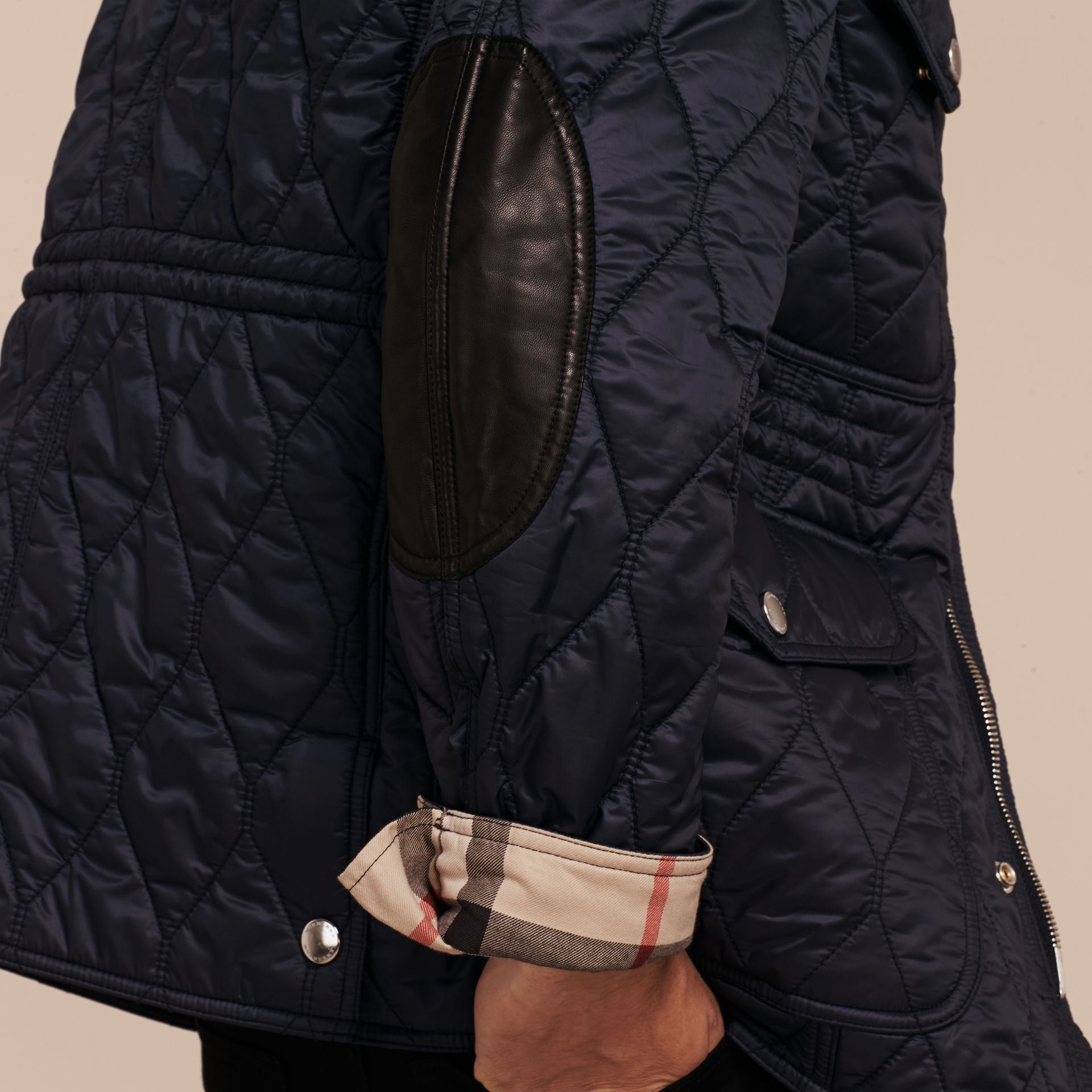 Diamond Quilted Field Jacket Navy - gallery image 6