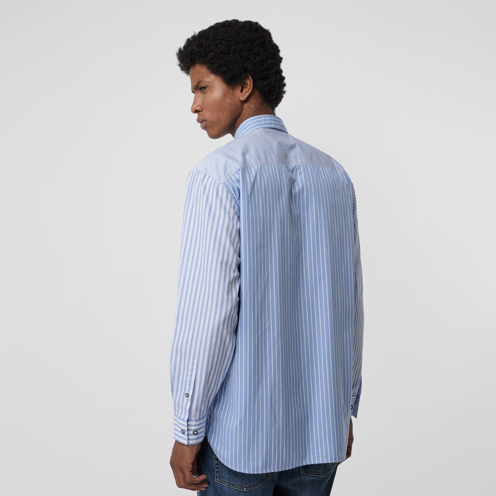 Contrast Stripe Cotton Poplin Shirt in Chalk Blue - Men | Burberry - gallery image 2