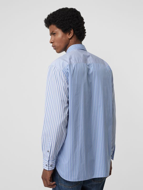 Contrast Stripe Cotton Poplin Shirt in Chalk Blue - Men | Burberry - cell image 2