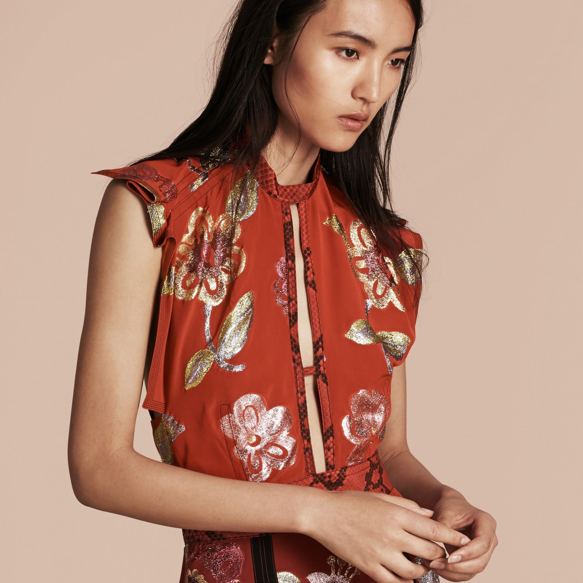 Burnt sienna Floral Fil Coupé Silk Dress - gallery image 5