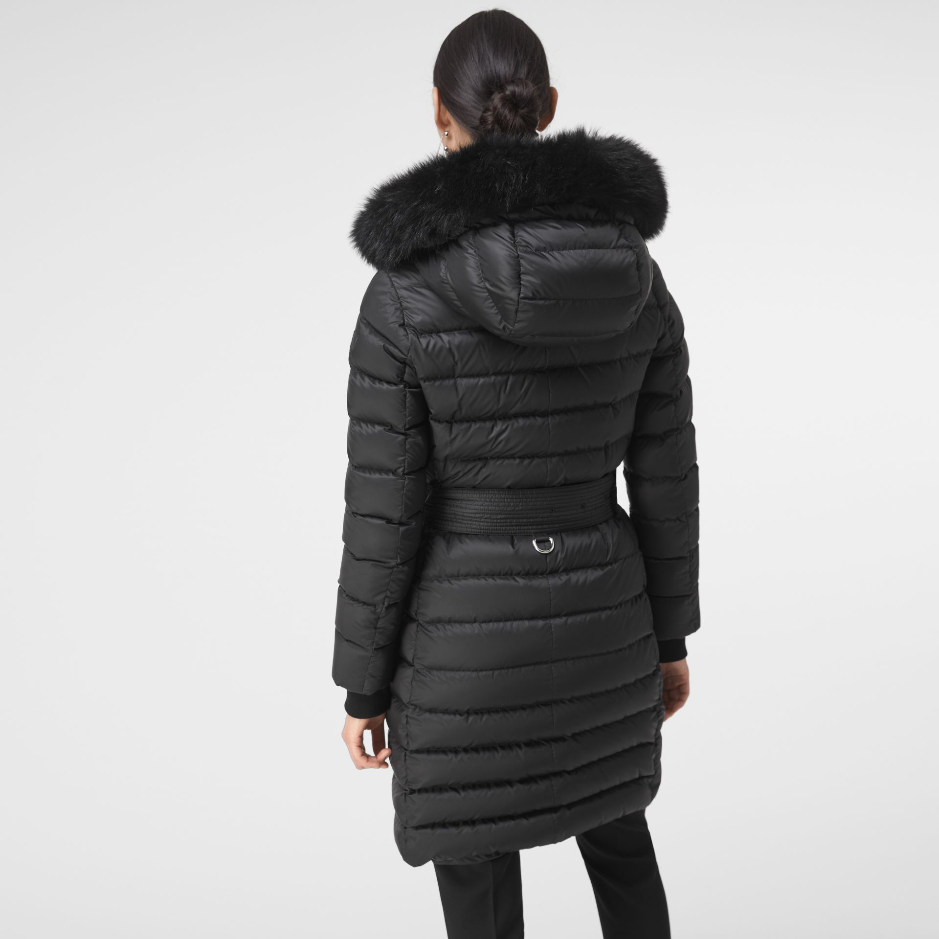 Detachable Shearling Trim Down-filled Puffer Coat in Black - Women | Burberry - gallery image 4