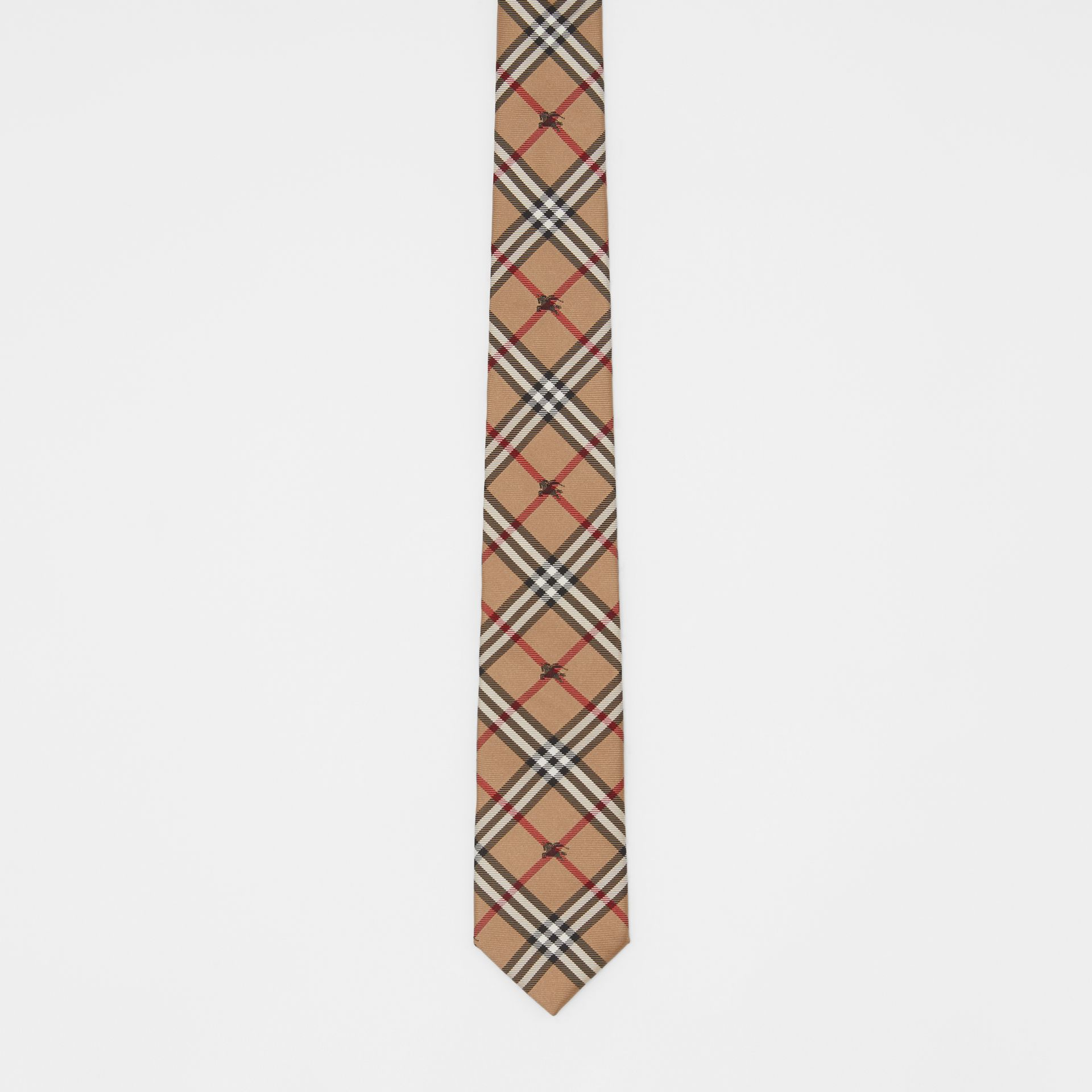 Slim Cut Equestrian Knight Check Silk Tie in Camel - Men | Burberry - gallery image 4