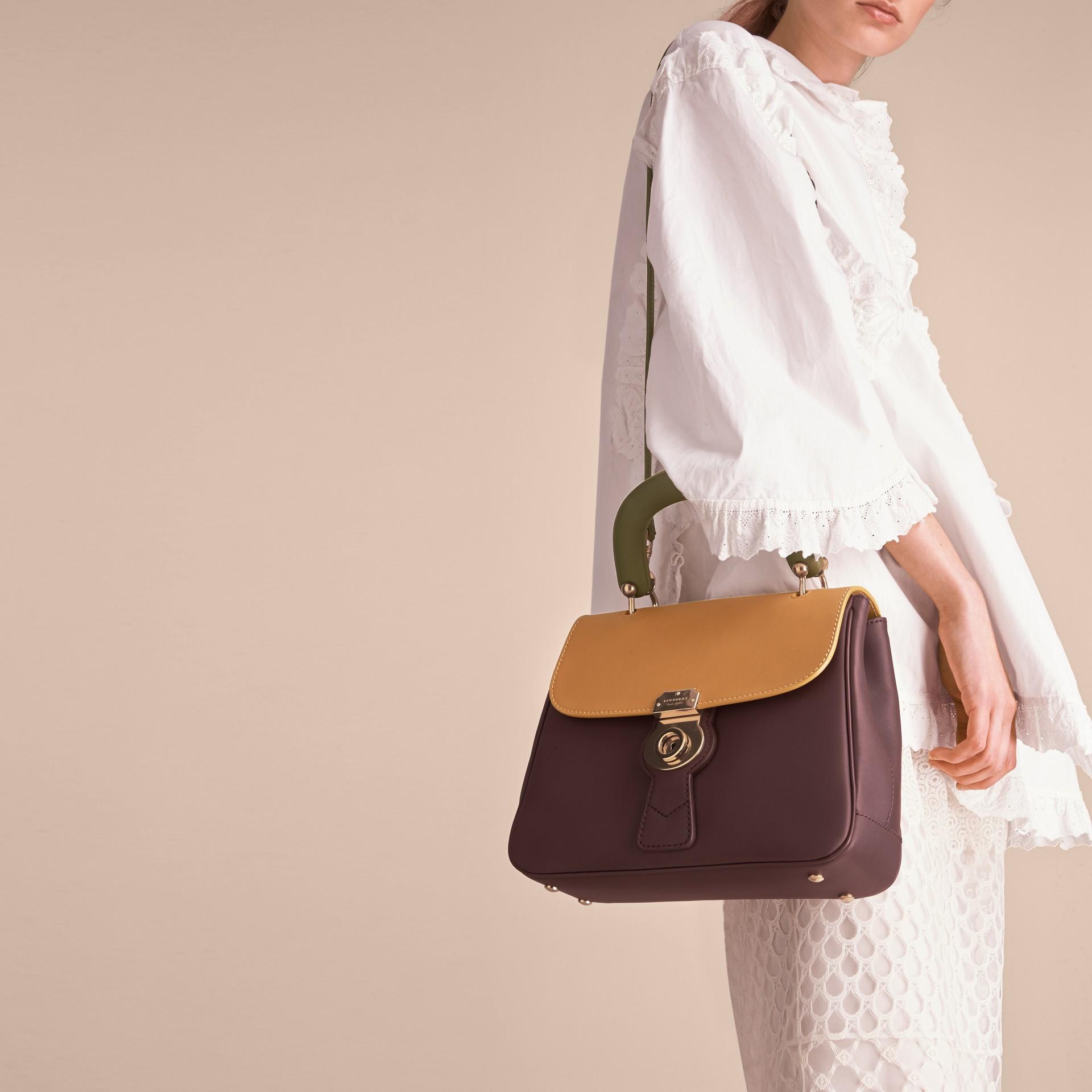 The Medium DK88 Top Handle Bag Dark Chocolate/ochre Yellow - gallery image 5