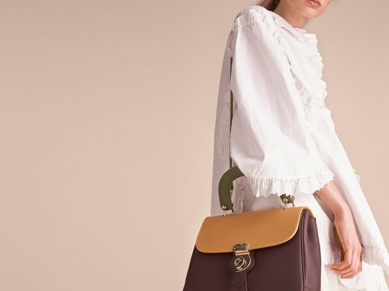 The Medium DK88 Top Handle Bag Dark Chocolate/ochre Yellow - cell image 4